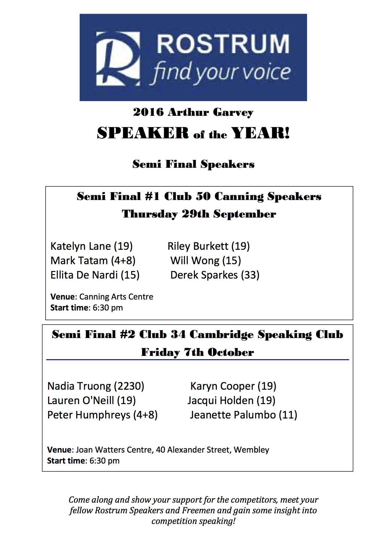 Semi Finals – Arthur Garvey Public Speaker of the Year Competition