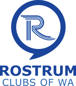 Rostrum Clubs of WA Logo Letter R in a blue speech bubble